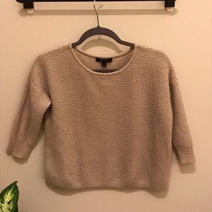 Ann Taylor mauve waffle knit fuzzy sweater